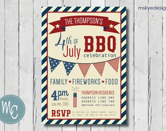 Fourth of July Party/BBQ Invitation