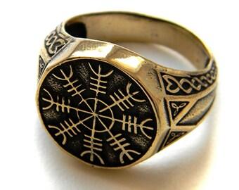 """Ring """"Aegishjalmur"""", Helm of Awe ring, Norse ring, Nordic ring, Vikings Ring, Pagan ring, Helmet of horror, Bronze ring, Bronze Aegishjalmur"""