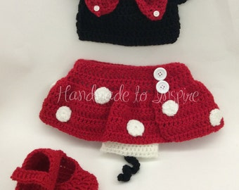 Crochet Minnie MouseCostume, Newborns Baby Costume Crochet Minnie Mouse Crochet, Photo Prop Minnie Mouse, Minnie Mouse Costume