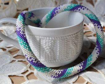 "Necklace ""Sea Breeze"" Beaded Crochet Necklace Beadwork Jewelry"