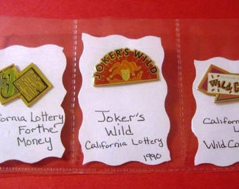3 Vintage California Lottery Pins