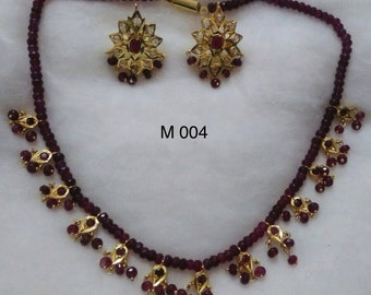 Gold Plated Polki n Semi Precious Necklace Set with Earrings..