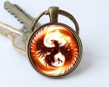 Phoenix keychain Phoenix keyring Phoenix gift Fantasy key chain Phoenix pendant Phoenix bird Fire keyring Bird keychain Phoenix jewelry