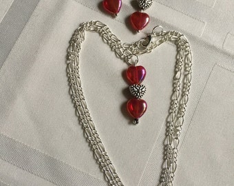 Wedding Red Glass Necklace and Earrings