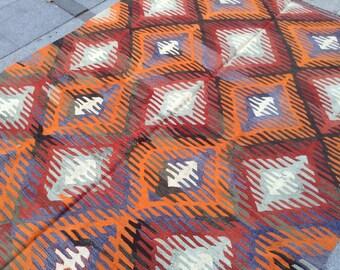 Bright geometric orange vintage kilim rug - 10 x 5 ft