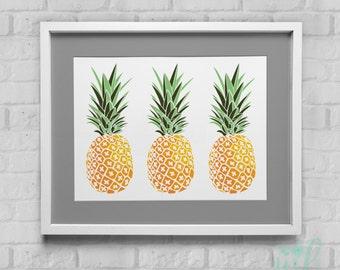 Three Pineapples Instant Download Wall Art 8x10/11x14