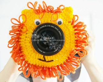 Lion Camera Lens Buddy - Crochet - Photography Prop - Kids - Children - Baby - Handmade