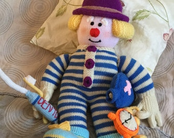 Knitted Toys, Hand knitted Bedtime Clown Mr Fortywinks