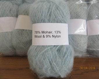 Pale Blue Mohair Yarn Mohair/Wool/Nylon 78/13/9 500g (10x50g balls)