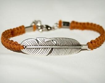 Feather Bracelet, Macrame  Hemp Bracelet