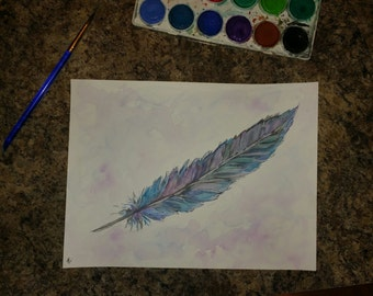 Feather watercolor painting original
