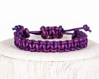 Distressed Purple Leather Macrame Bracelet