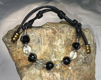 Crystal and jade beaded bracelets