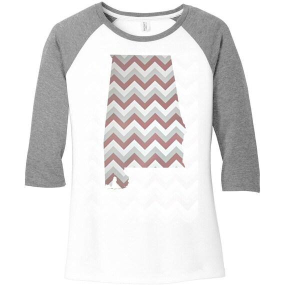 Alabama State Burgundy, Grey & White Chevron Design, Baseball Raglan 2 Tone 3/4 Sleeve Womens Tops Shirts in Sizes Small-4X, Plus Size