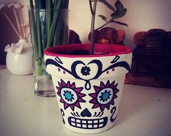 Sugar skull day of the dead plant pot