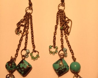 Aqua blue and green cluster earrings