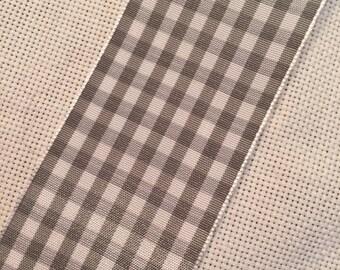 Midori Gray/White Plaid Silk Ribbon