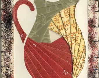 Handmade Thinking of You Greeting Card - Iris folded Pitcher v.8