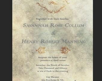 Vintage Parchment Wedding Invitation PDF