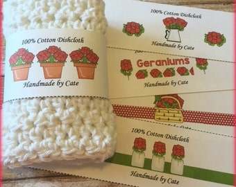 Geranium Dishcloth/Washcloth Label - PDF FILE ONLY