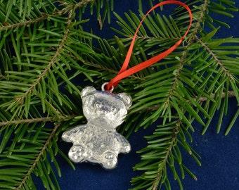 Christmas decoration bear pewter for tree holiday - gift of professors, gift hostess, children, gift for her, gift for him