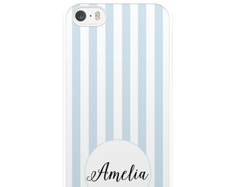 Blue and White Striped iPhone Case, Custom iPhone Case, Personalised iPhone Case, iPhone 5, iPhone 5s, iPhone 6, iPhone 6s, Gift