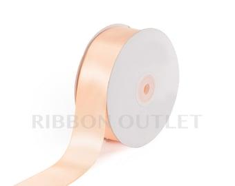 """1 1/2"""" Light Peach Satin Ribbon 50 Yards Per Roll"""