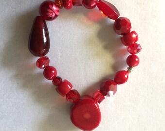 Red Gemstone Beaded Bracelet