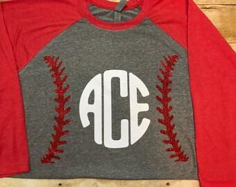 Glitter Baseball Monogram Raglan, Women's Raglan, Baseball Shirt, Initials Shirt, Baseball Raglan Shirt