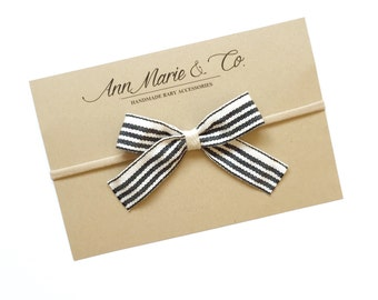 Black and White Striped Bow