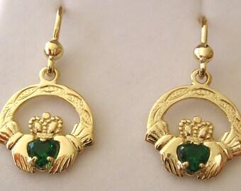 Genuine SOLID 9K 9ct YELLOW GOLD Irish Claddagh Love Hearts Emerald Earrings