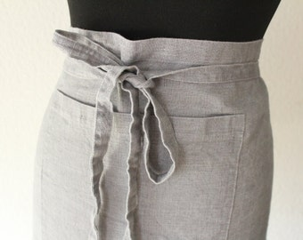 linen half apron, linen apron, apron, bistro apron, short apron, silver gray, kurze schürze