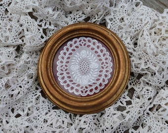 Antique  Victorian framed lace and wood, frame wall hanging,