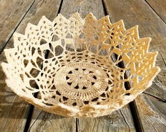 Vintage Handmade Crochet Lace Basket, unique bread basket, table basket, crochet basket, home decor