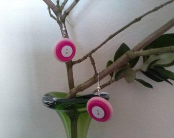 Pink & White Button Dangle Earrings