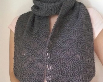handmade knitted winter scarf grey