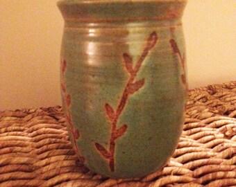 Clay Pencil Holder - Floral Design - Handmade Ceramic Pottery