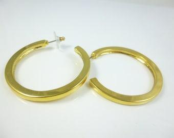 Gold Hoop Earrings, Large Hoops, Large Hoop Earrings, Gold Plated Hoops, Vintage