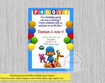 Printed Or Digital Pocoyo Birthday Invitations Chalkboard