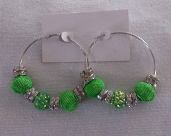 Basketball Wives Inspired Silver Hoop Earrings / Lime Green Mesh and Resin Beads with Rhinestone Spacers
