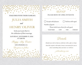 Printable Gold Confetti Wedding Invitation Template Set,Gold Wedding Card,Gold dots Wedding Editable Text Instant Download MsWord WED009W