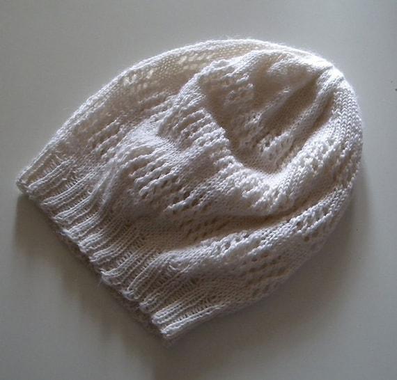 Slouch Hat Knitting Pattern, lace hat, easy pattern, sock yarn or sport weigh...