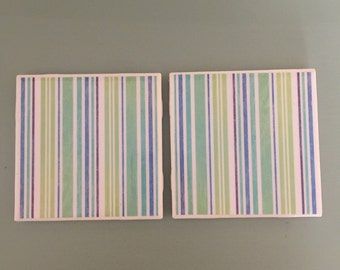 Striped Coasters: Set of 2