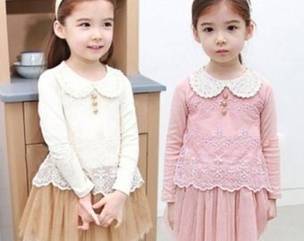 Girls dress- WHITE AND BEIGE