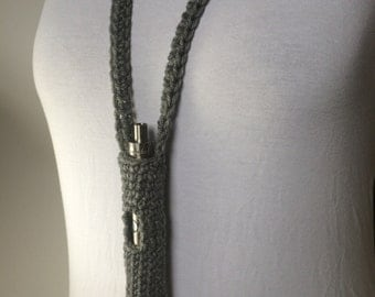 Grey Peace Studded ECig/SubVod Lanyard (Ready to Ship)