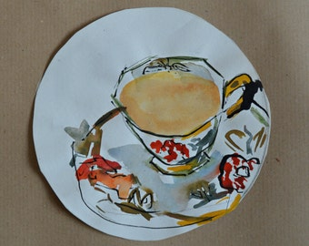 Teacups Still Life Watercolor Painting