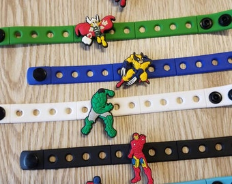 10 Superhero Silicona Bracelets Party Favors