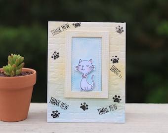 Handmade thank you card cat bricks wall