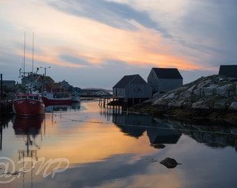 Dramatic Sunset Photography, Fishing Harbor Photo, Peggys Cove, NS  Fishing Village Pic, Orange & Blue, Sunset Pic, Office Decor, Home Decor