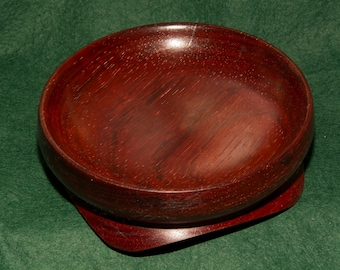 Wooden Bowl, Padauk wood, footed, handmade no 71